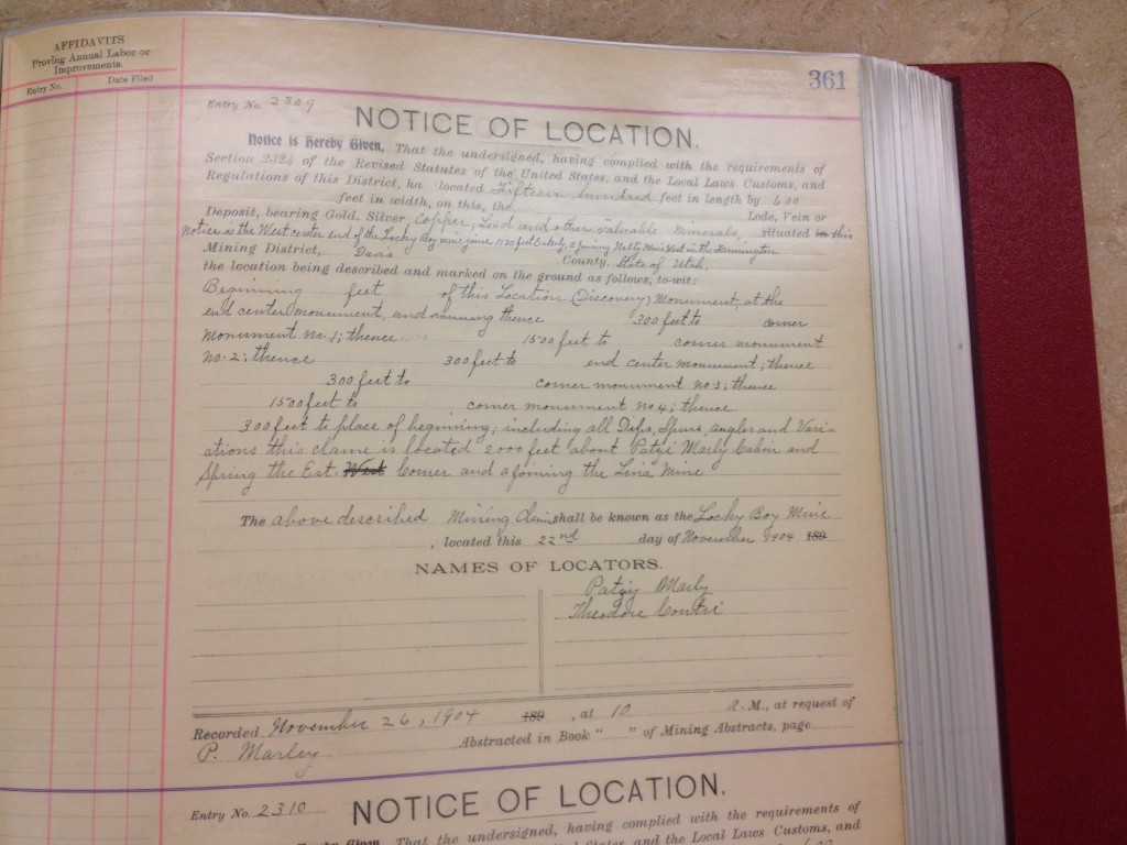 Notice of Location document for Patsy's mining claims