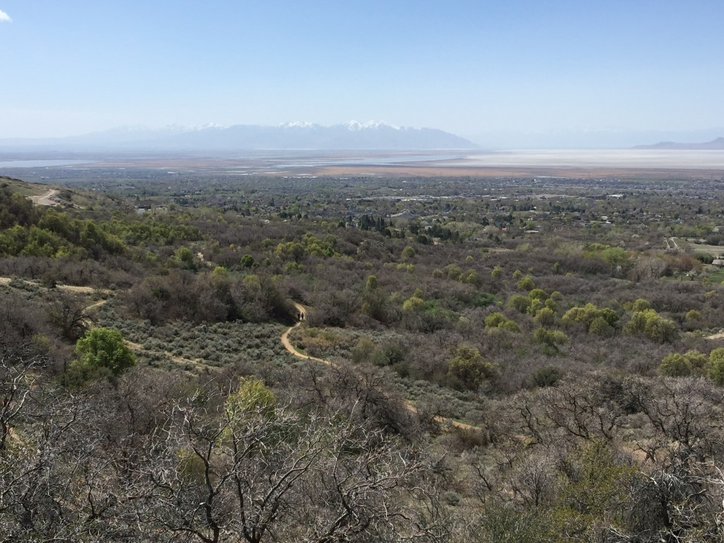 Looking down on the trails from the Bonneville Shoreline Trail