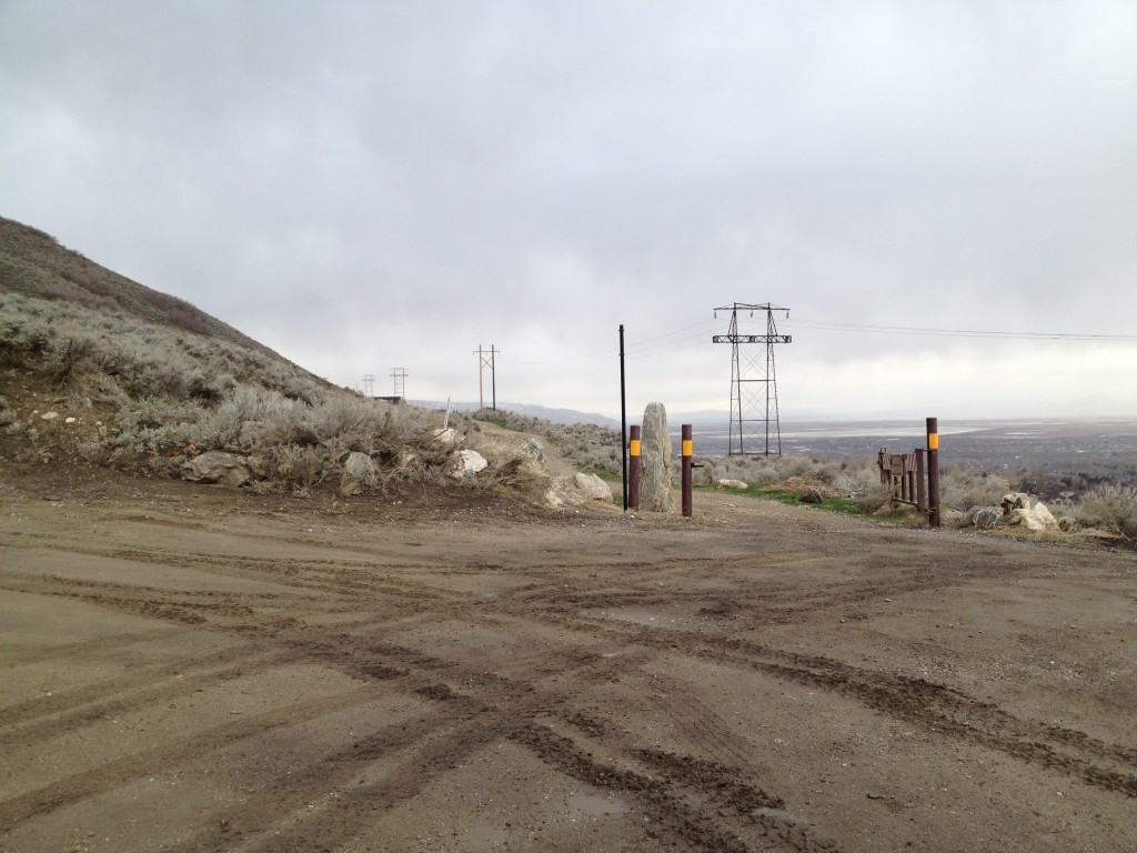 Here is the trailhead. If the gate is open you can probably drive all the way to the mine.