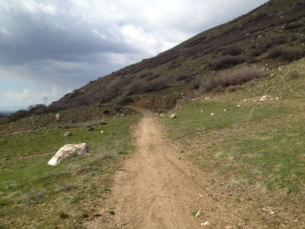 On the trail leading up to the Bonneville Shoreline Trail