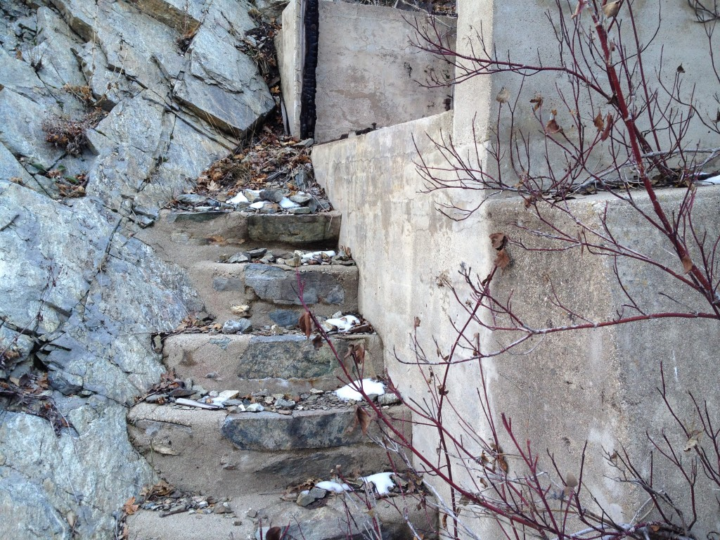 Here are some old concrete stairs that are part of the dam