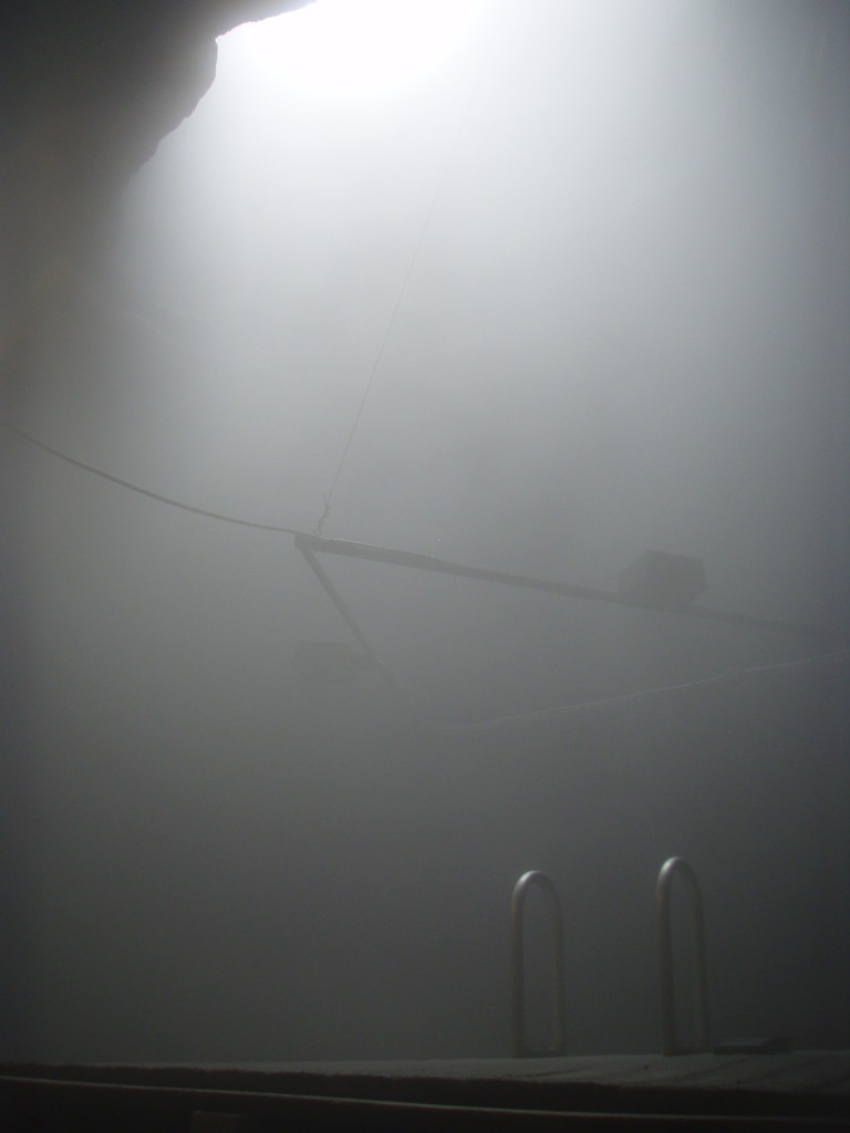 In the winter it can get really foggy in the crater