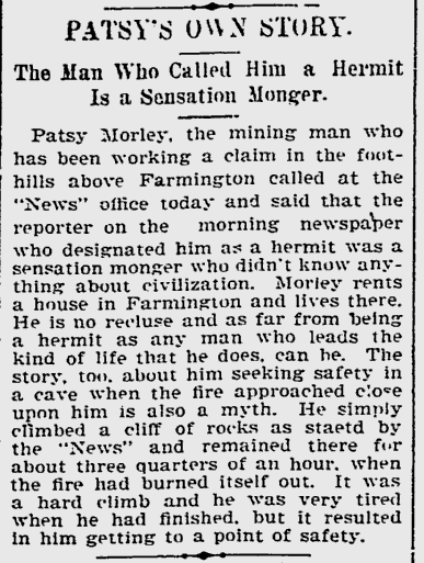 Short clipping about Patsy Morley talking about the fire