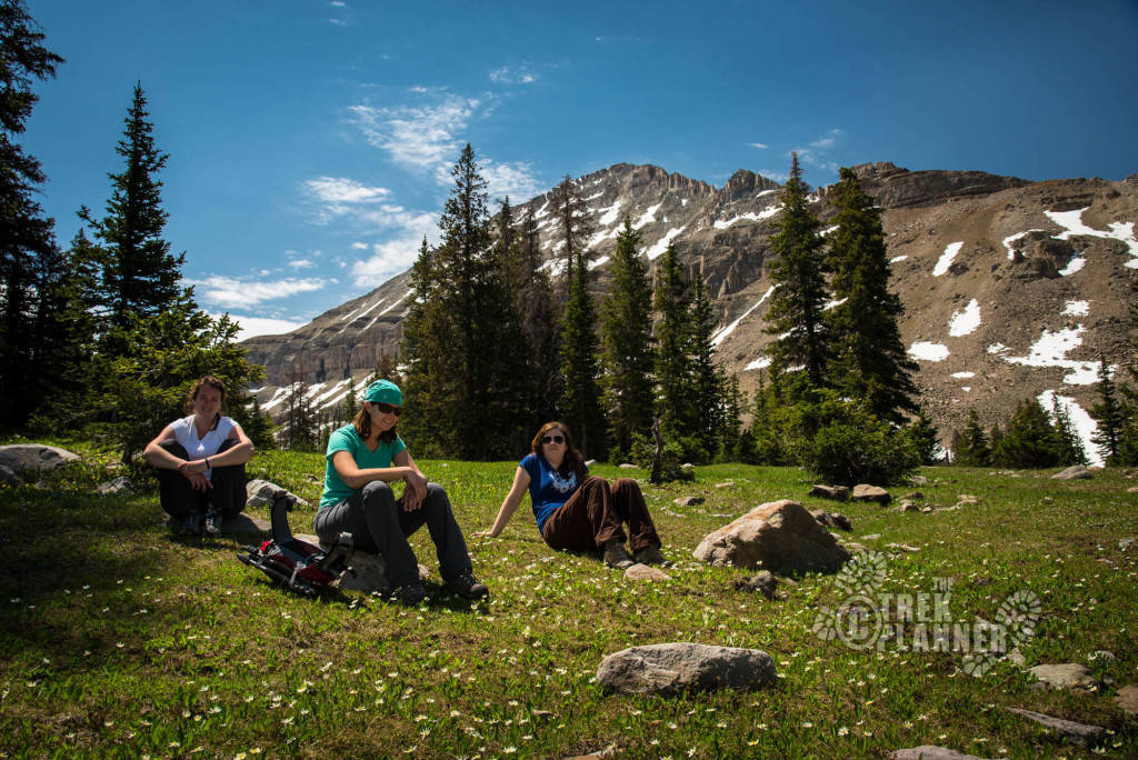 Taking a break on our hike around Ryder Lake.