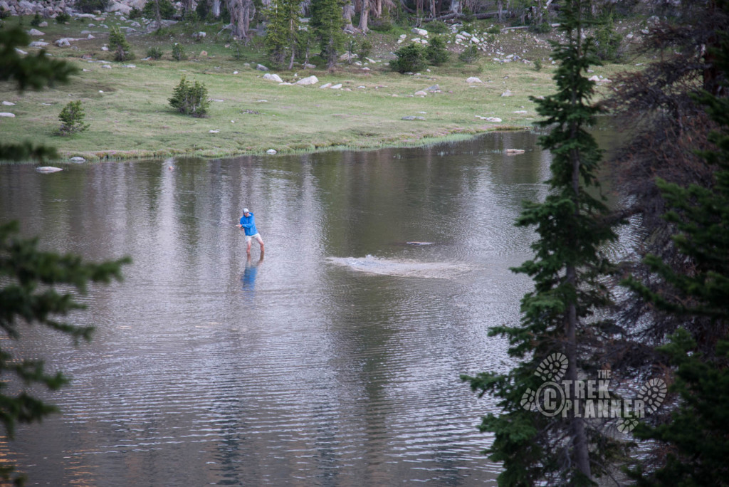 Chasing the fish in Ryder Pond, the lake just below Ryder.