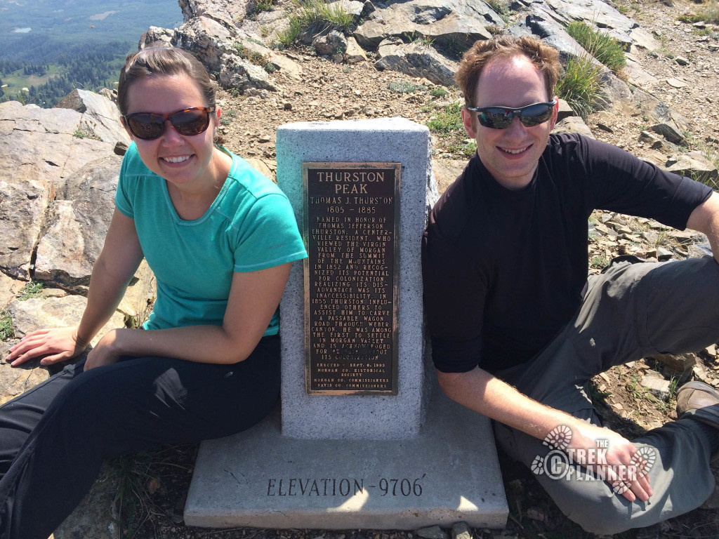 Athena and I by the summit plaque.