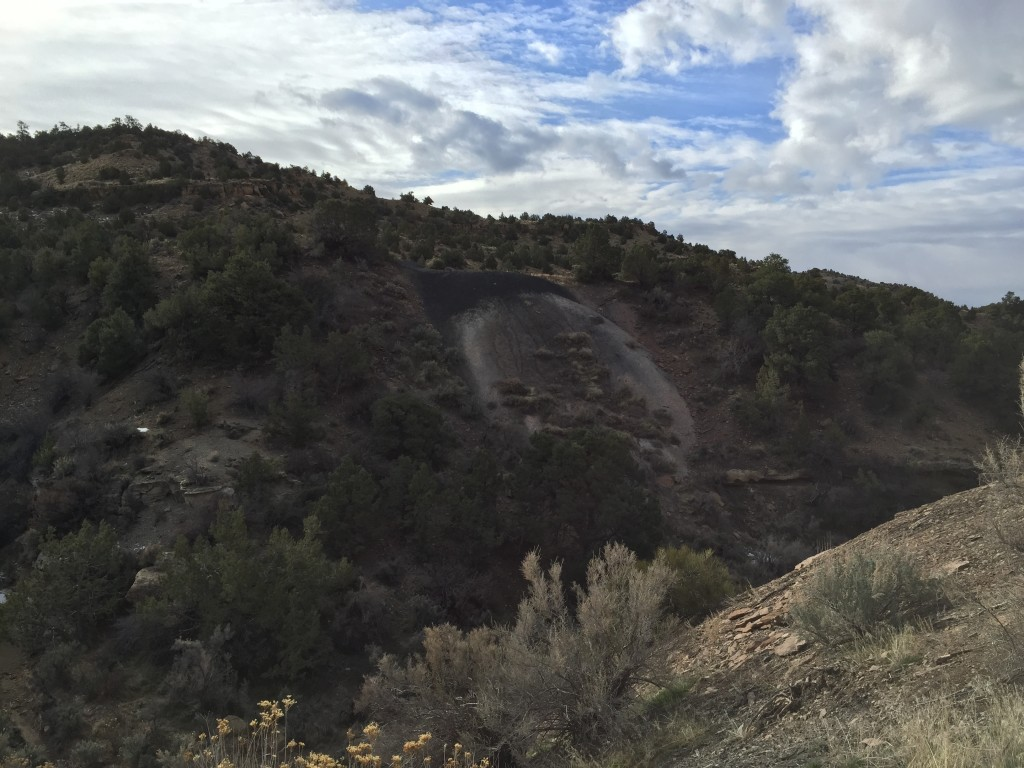 There are mine tailings on the other side of the canyon too.