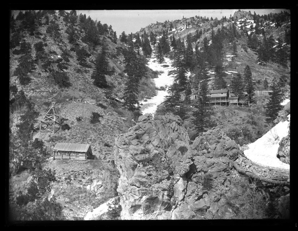 Log_boarding_house_and_bunk_house_Upper_Camp_at_Baker_Mine_Baker_Canyon
