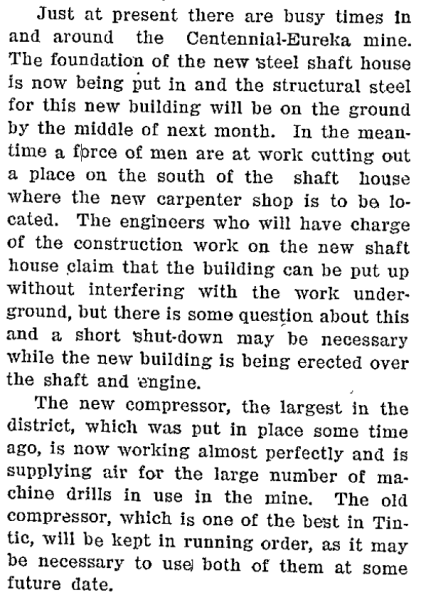 1907 Article about the new steel shaft house.