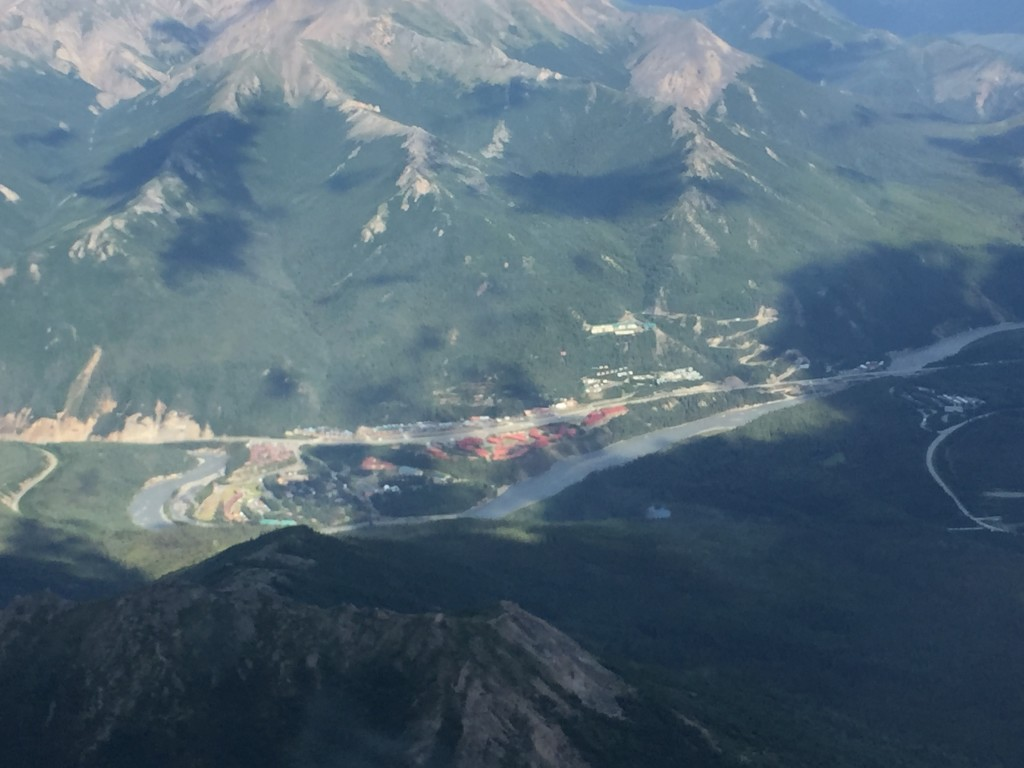 Flying above Glitter Gulch with all the lodges, shops and restaurants