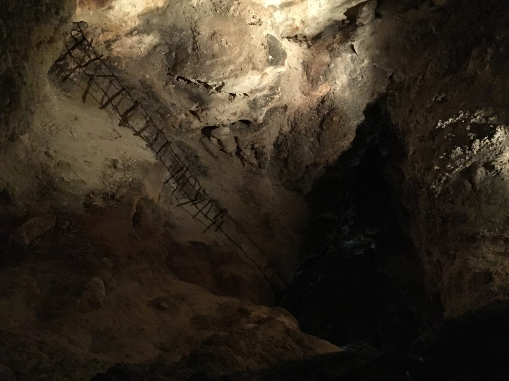 Some of the old cave exploration ladders are still visible but thankfully not used.
