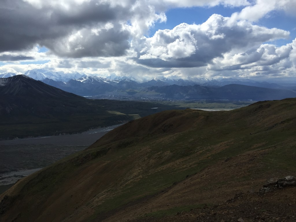 Denali would be in the center of this picture if there were no clouds