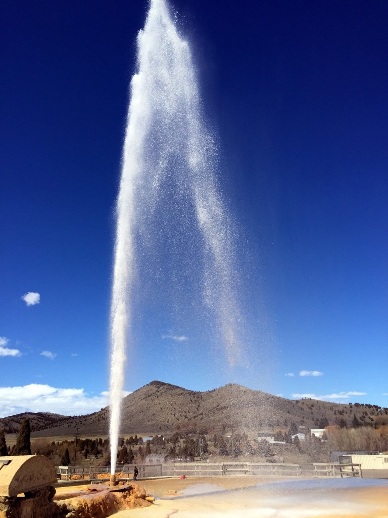 The geyser can reach up to 100 ft in height