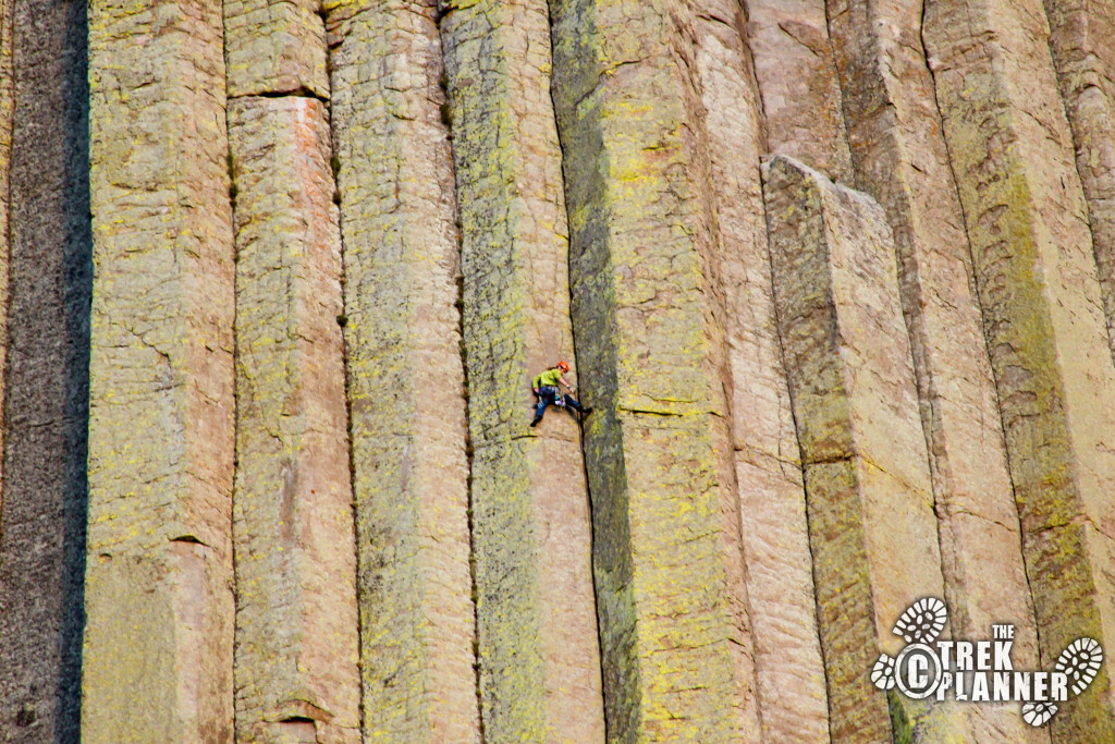 Climbing up Devils Tower