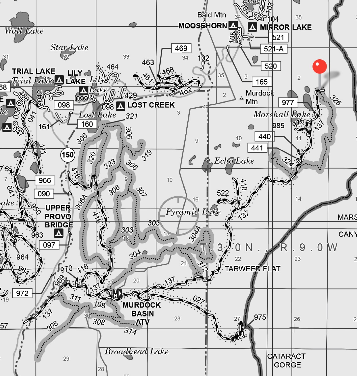 Areas You Can Atv In Southern California Map.Murdock Basin Atv Trails Uinta Mountains The Trek Planner